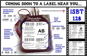 Sample ISBT-128 label